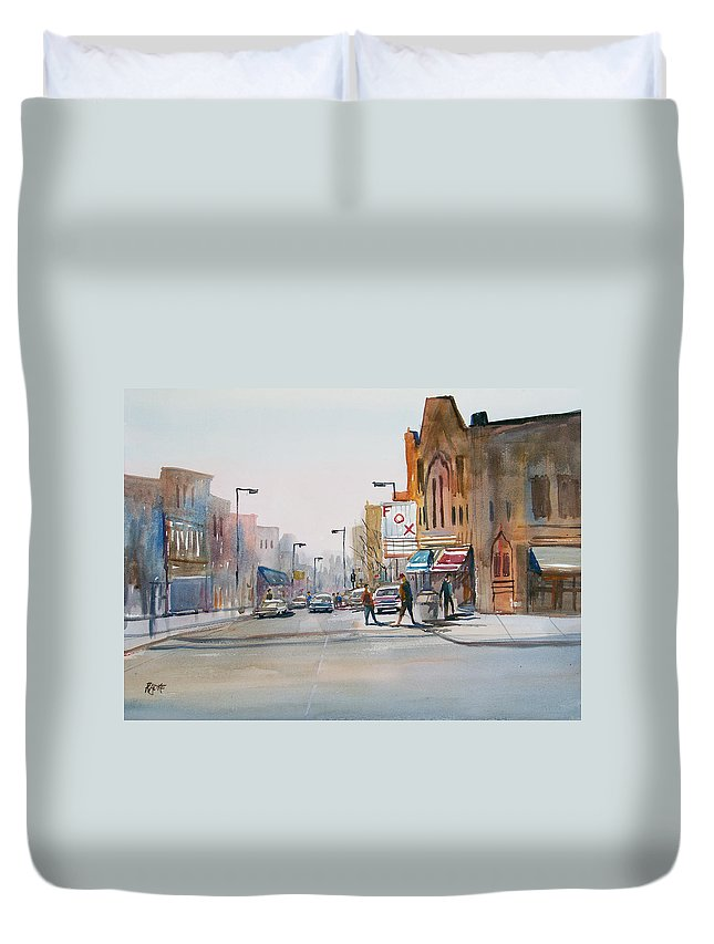 Watercolor Duvet Cover featuring the painting Steven's Point - Downtown by Ryan Radke