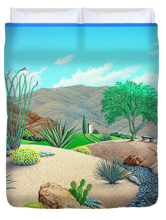 Landscape Duvet Cover featuring the painting Steve's Yard by Snake Jagger