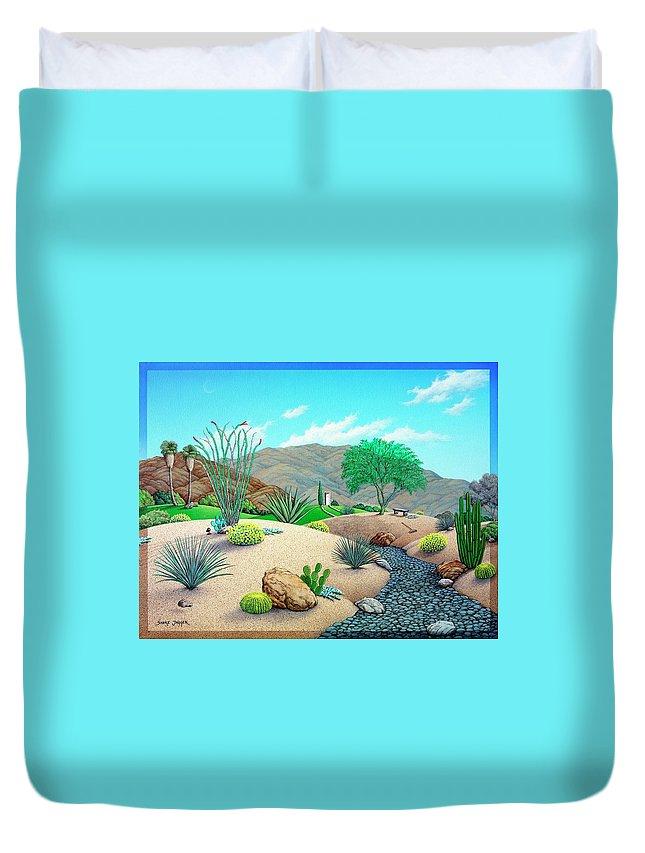 Desert Duvet Cover featuring the painting Steves Yard by Snake Jagger