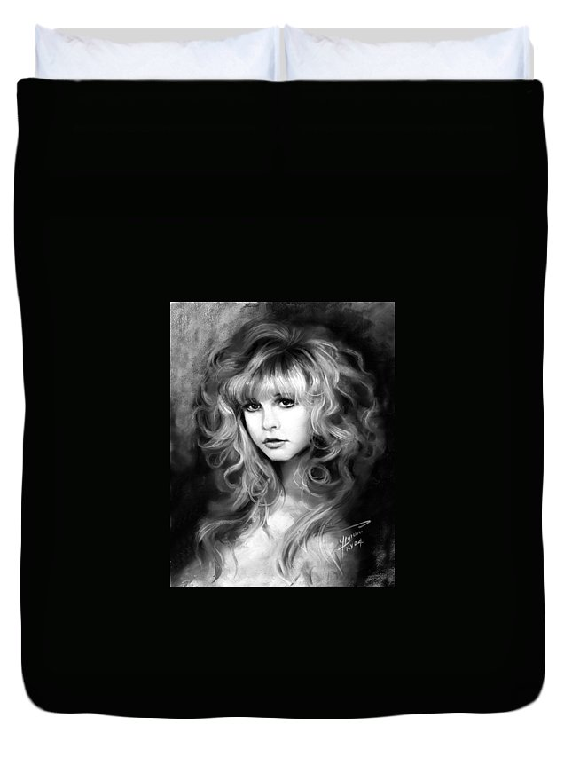 Stevie Nicks Duvet Cover featuring the drawing Stevie Nicks by Ylli Haruni