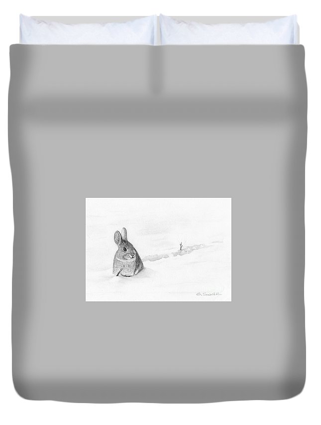 Rabbit Duvet Cover featuring the drawing Stick Hunting by George Sonner