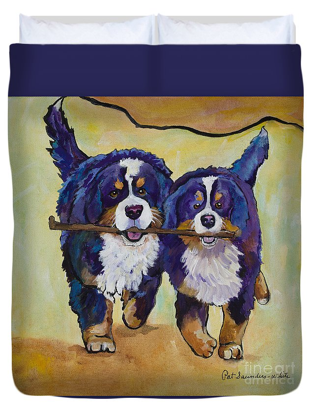 Bernese Mountain Dogs Duvet Cover featuring the painting Stick Together by Pat Saunders-White