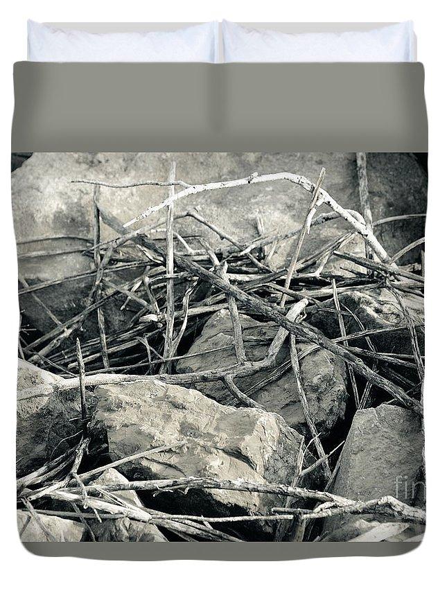Stick Twig Sticks Twigs Stone Stones Rock Rocks Black White Monochrome Duvet Cover featuring the photograph Sticks And Stones 2782 by Ken DePue