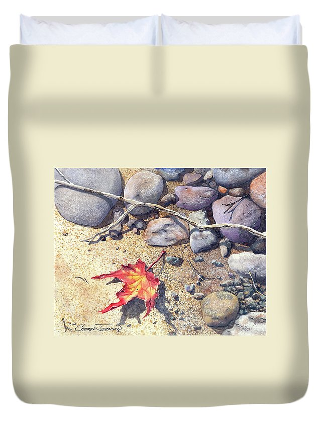 Maple Leaf Duvet Cover featuring the painting Sticks And Stones by Cheryl Johnson