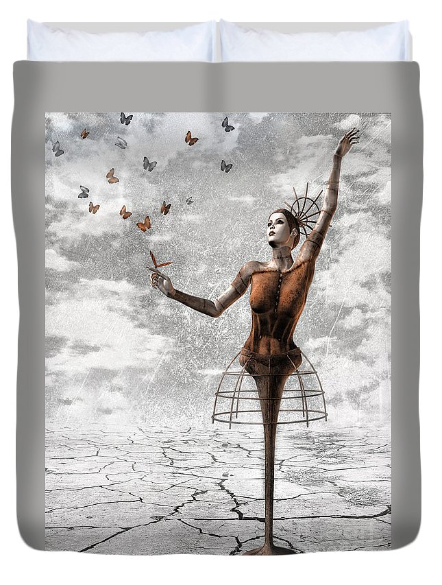 Surreal Duvet Cover featuring the painting Still Believe by Jacky Gerritsen