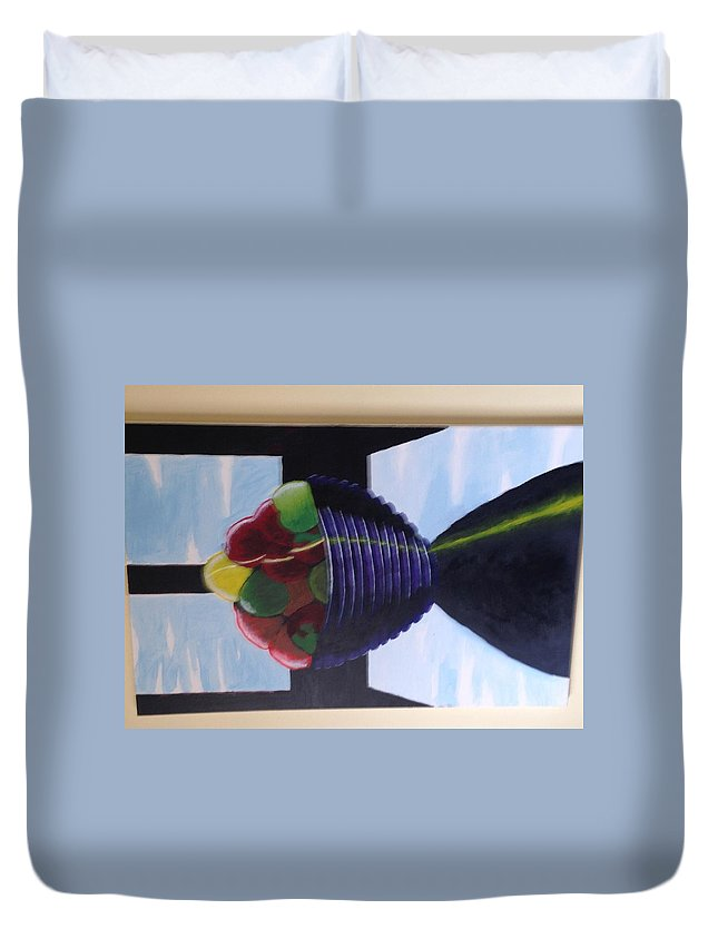 Duvet Cover featuring the mixed media Still Just Apples by Jay Shaw