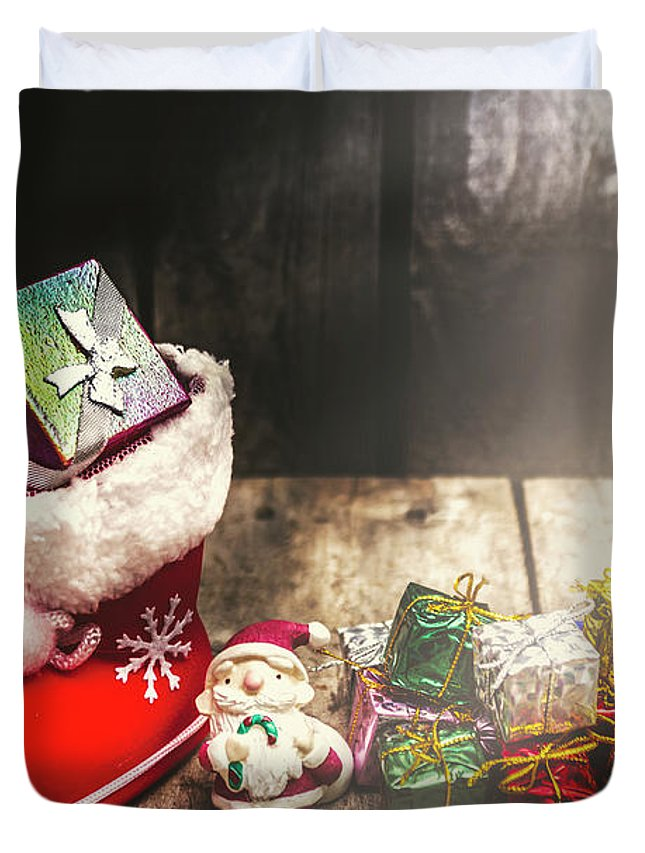 Ornament Duvet Cover featuring the photograph Still Life Christmas Scene by Jorgo Photography - Wall Art Gallery