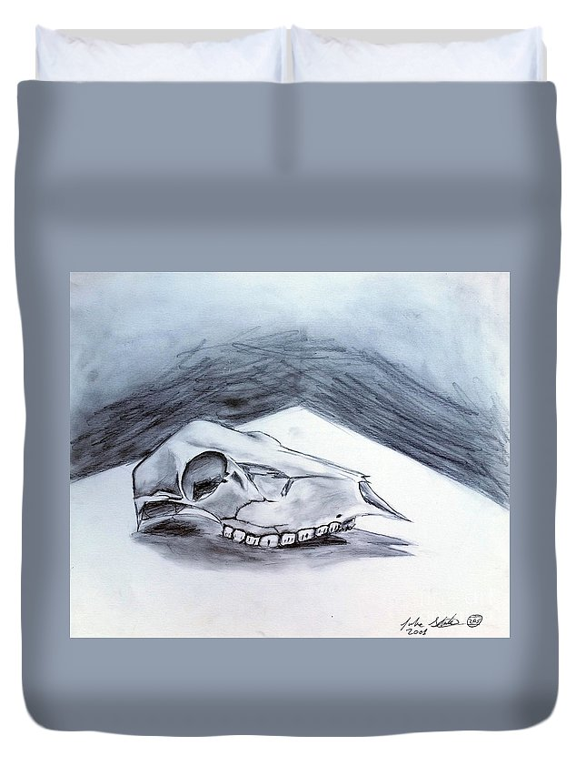 Drawing Duvet Cover featuring the drawing Still Life Drawing Cow Skull 02 by Luke Galutia