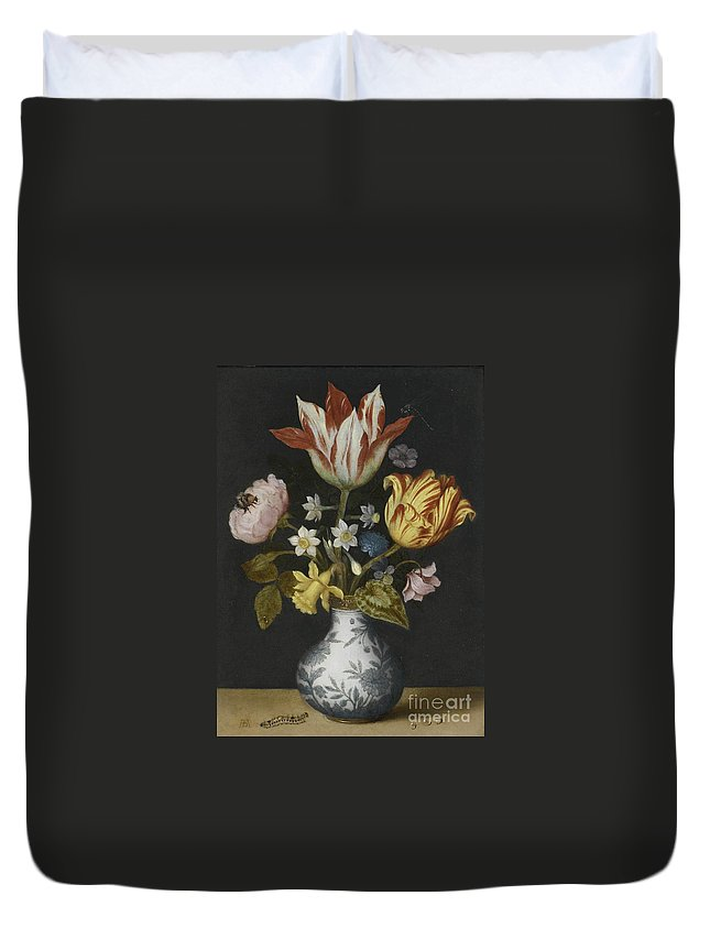 Ambrosius Bosschaert The Elder Duvet Cover featuring the painting Still Life Of Flowers In A Wan-li Vase by MotionAge Designs