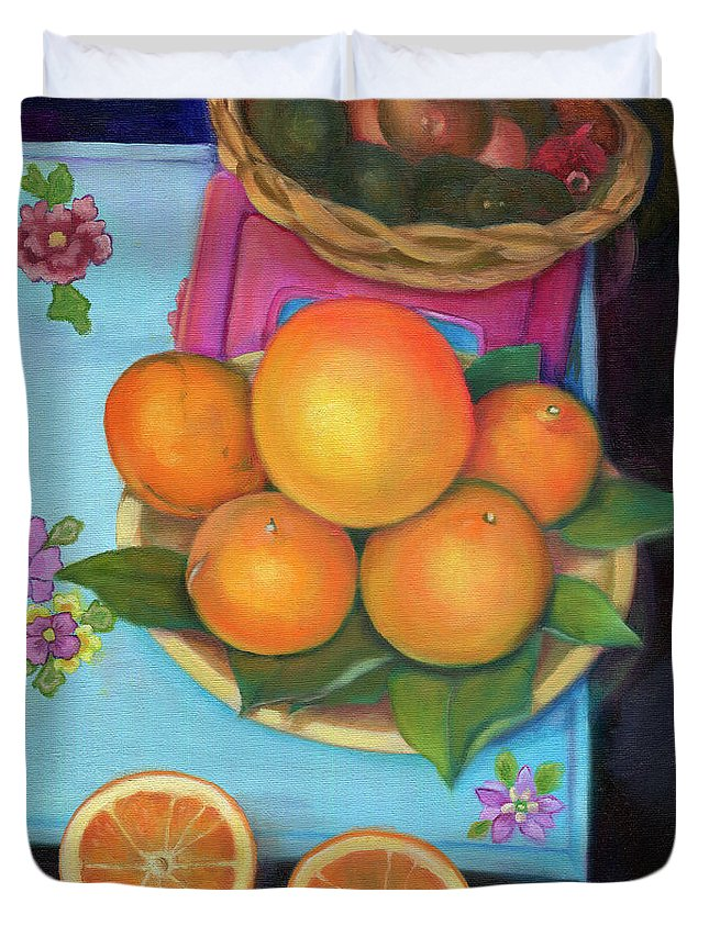 Still Life Duvet Cover featuring the painting Still Life Oranges And Grapefruit by Marlene Book