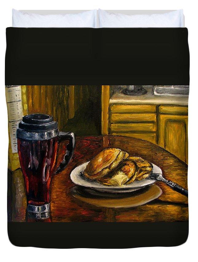 Still Life Painting Duvet Cover featuring the painting Still Life Pancakes And Coffee Painting by Natalja Picugina