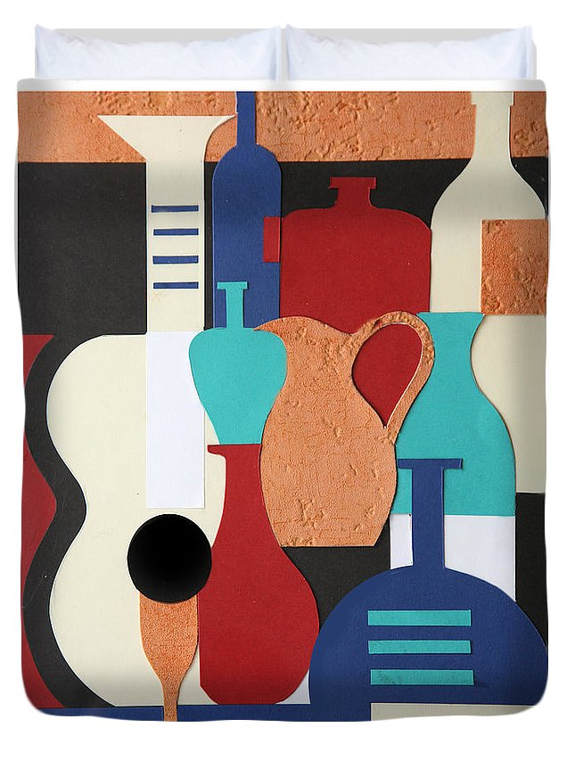 Still Life Duvet Cover featuring the mixed media Still Life Paper Collage Of Wine Glasses Bottles And Musical Instruments by Mal Bray