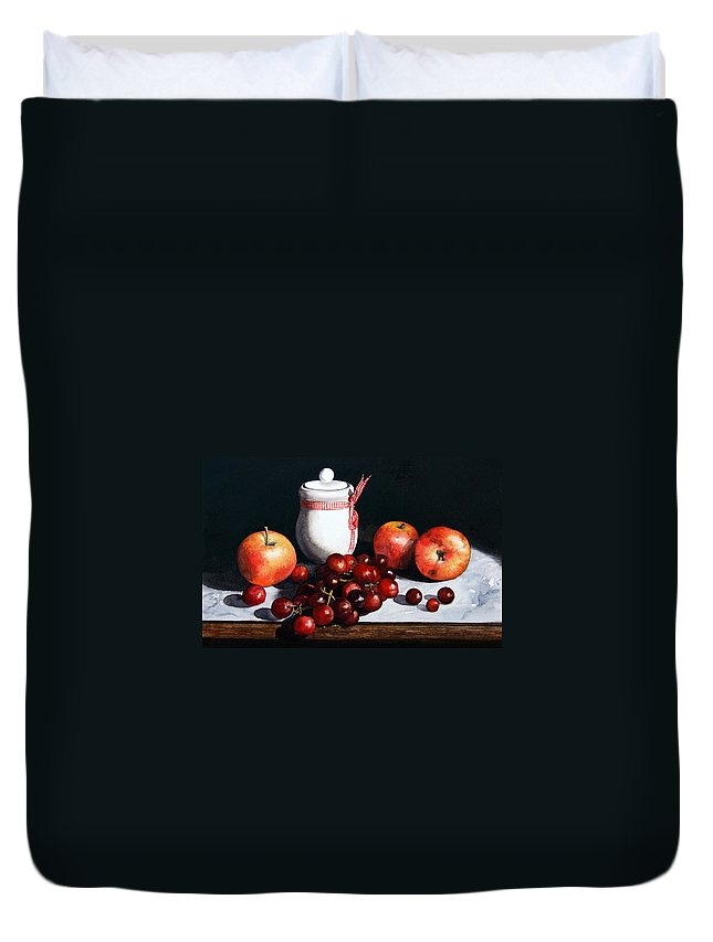 Still Life Duvet Cover featuring the painting Still Life 'preserve Pot And Fruit' by Paul Dene Marlor