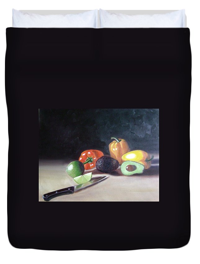 Duvet Cover featuring the painting Still-life by Toni Berry