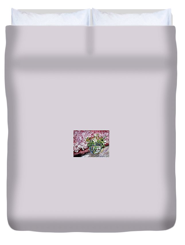 Still Life Duvet Cover featuring the painting Still Life Vase And Lace Watercolor Painting by Derek Mccrea