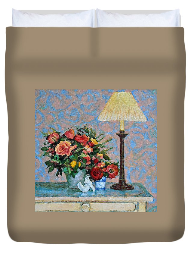 Flowers Duvet Cover featuring the painting Still Life With A Lamp by Iliyan Bozhanov