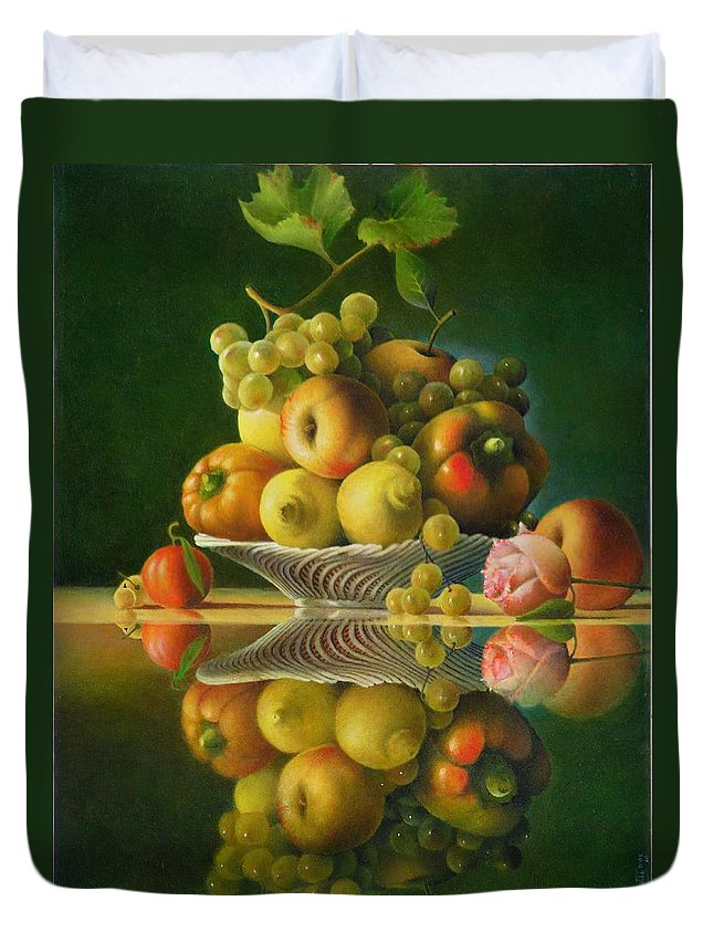 Still Life Duvet Cover featuring the painting Still Life with a Rose by Giuseppe Mariotti