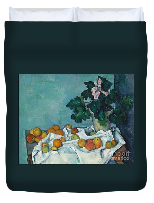 Monet Duvet Cover featuring the painting Still Life With Apples And A Pot Of Primroses, 1890 by Claude Monet