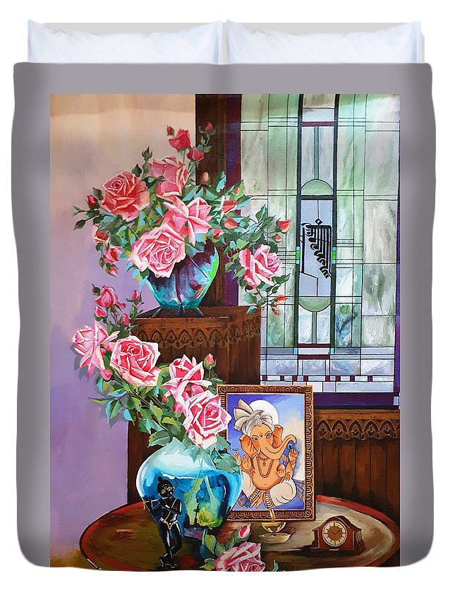 Stil Life Duvet Cover featuring the painting Still Life With Black Krishna And Ganesha by Rupa Prakash