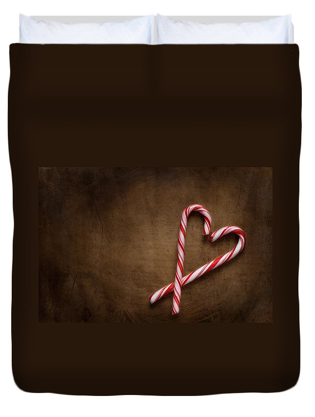 Candy Cane Duvet Cover featuring the photograph Still Life With Candy Canes by Jolanta Zychlinska