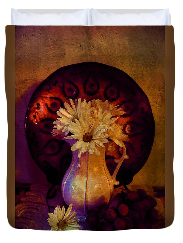 Flowers Duvet Cover featuring the photograph Still Life With Daisies And Grapes - Oil Painting Edition by Lilia D