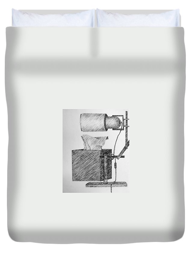 Still Life Duvet Cover featuring the drawing Still Life With Lamp And Tissues by Michelle Calkins