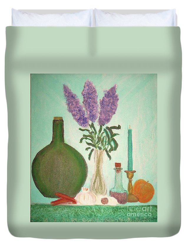 Lilac Duvet Cover featuring the painting Still Life With Lilac by Desiree Paquette
