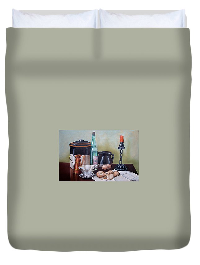 Still Life Duvet Cover featuring the painting Still Life With Onions And Eggs by Frank Wilson