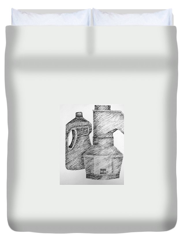 Still Life Duvet Cover featuring the drawing Still Life With Popcorn Maker And Laundry Soap Bottle by Michelle Calkins