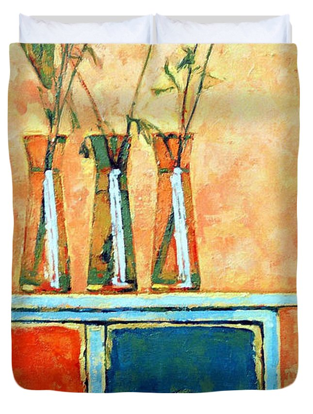 Poppies Duvet Cover featuring the painting Still life with poppies by Iliyan Bozhanov