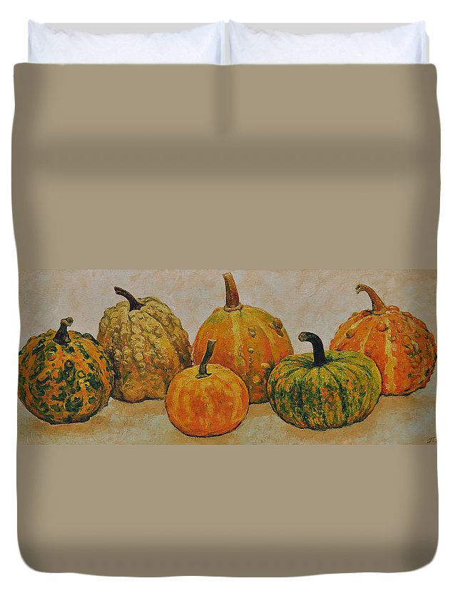 Still Life Duvet Cover featuring the painting Still Life With Pumpkins by Iliyan Bozhanov