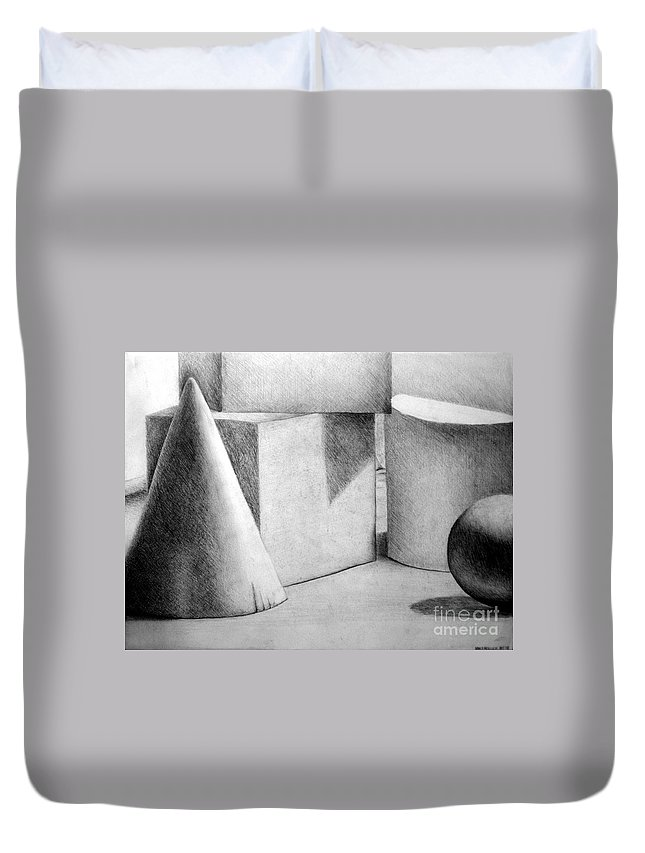 Drawing Duvet Cover featuring the drawing Still Life With Shapes by Nancy Mueller