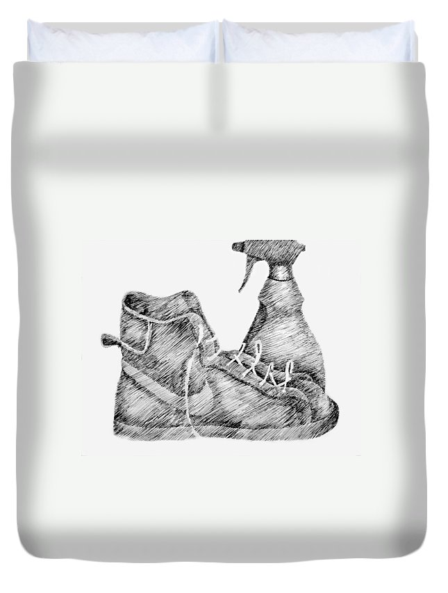 Pen Duvet Cover featuring the drawing Still Life With Shoe And Spray Bottle by Michelle Calkins