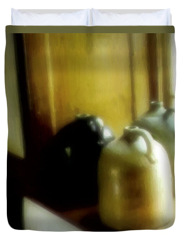 Antiques Duvet Cover featuring the digital art Still Life With Stoneware by RC DeWinter