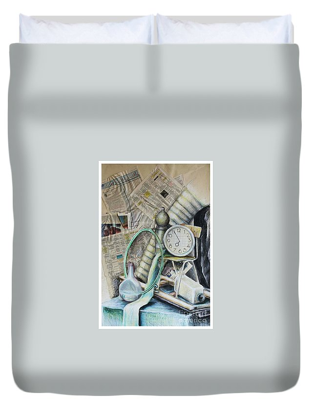 Newspaper Duvet Cover featuring the drawing Still Life With The Newspapier by Dusia Helenka