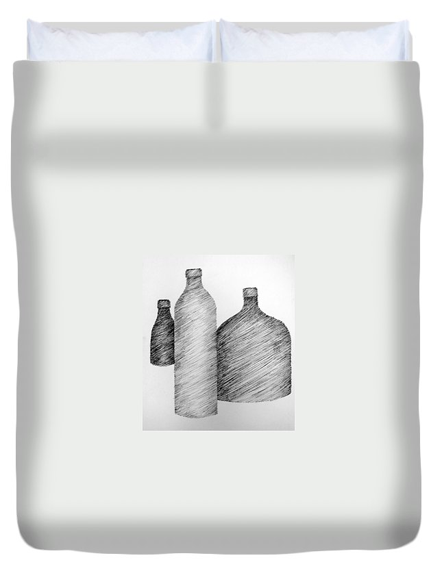 Still Life Duvet Cover featuring the drawing Still Life With Three Bottles by Michelle Calkins