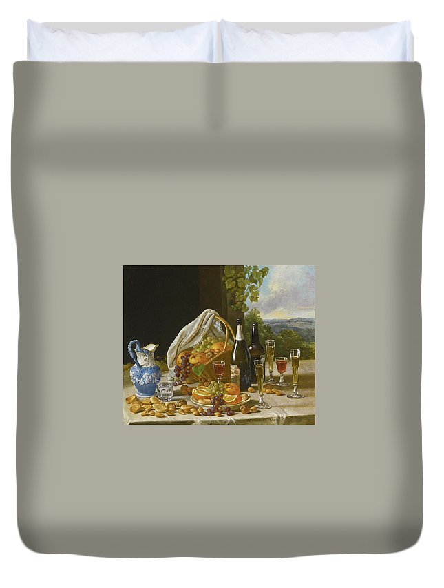 John F Francis Duvet Cover featuring the painting Still Life With Wine And Fruit by John F Francis