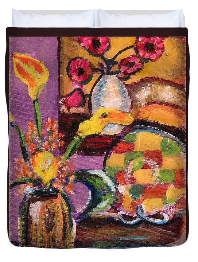 Still Life Duvet Cover featuring the painting Still Life Within A Still Life Left by Dennis Tawes