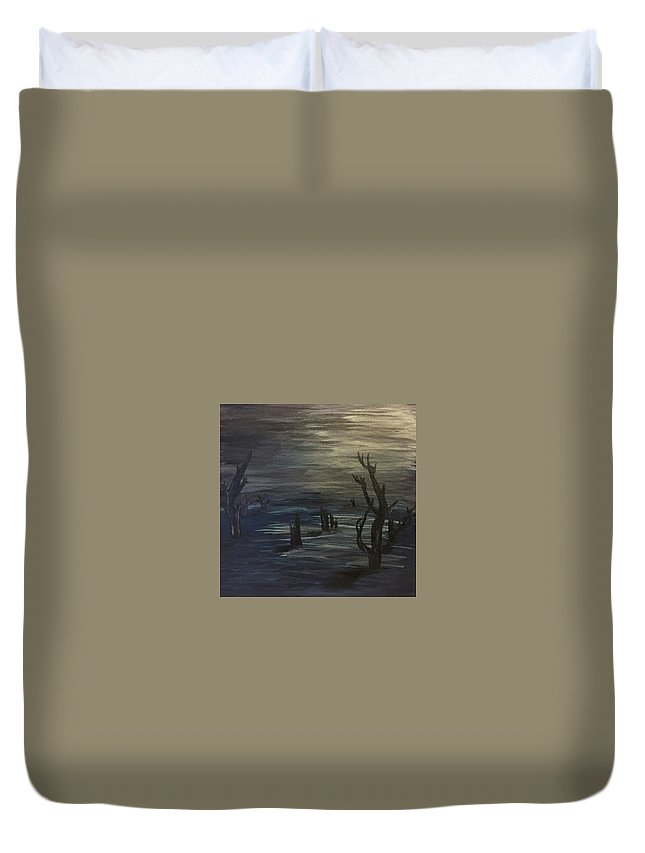 Moon Duvet Cover featuring the painting Still Of Night by Susan Voidets