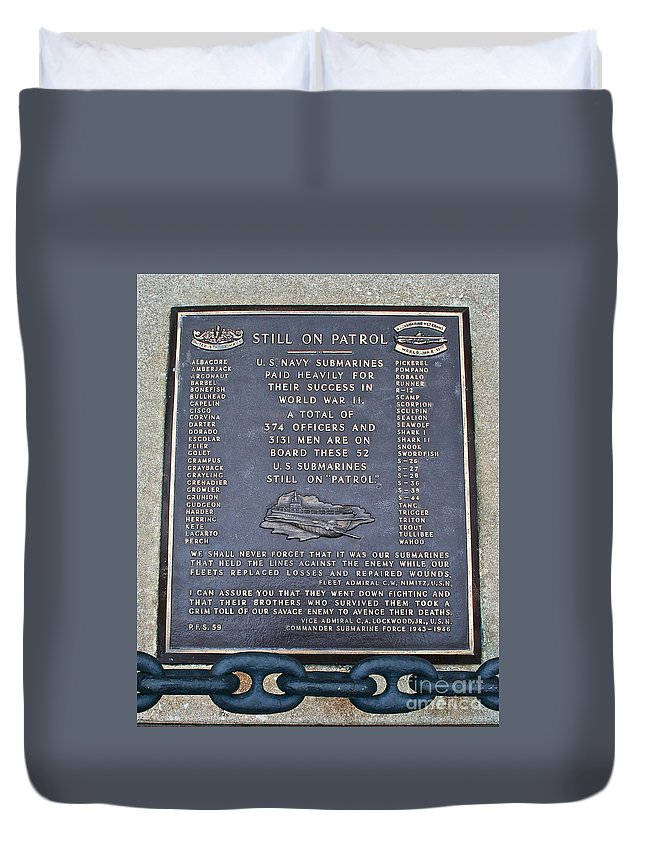 Memorial Duvet Cover featuring the photograph Still On Patrol by Rick Monyahan