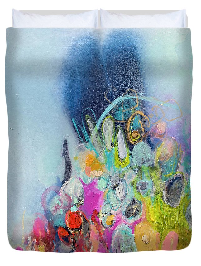 Abstract Duvet Cover featuring the painting Still Playing by Claire Desjardins