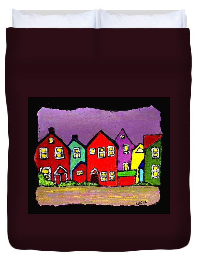 Houses Duvet Cover featuring the painting Still Standing by Wayne Potrafka
