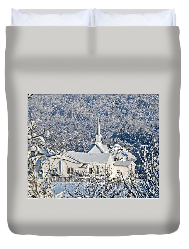 Church Duvet Cover featuring the photograph Still The Little White Church In Peoria by Regine Brindle
