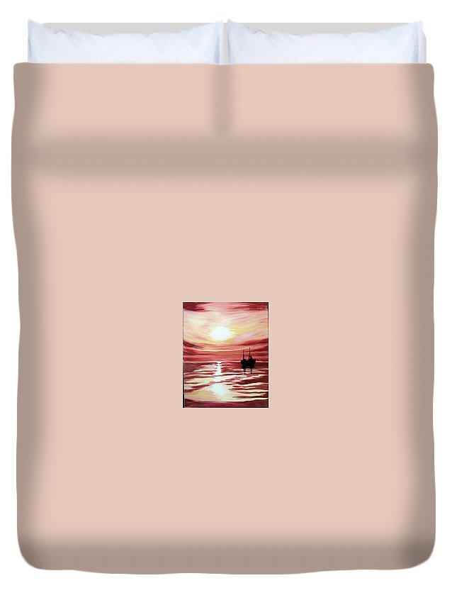 Seascape Duvet Cover featuring the painting Still Waters Run Deep by Marco Morales