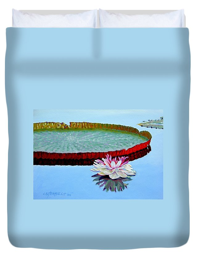 Water Lily Duvet Cover featuring the painting Stillness by John Lautermilch