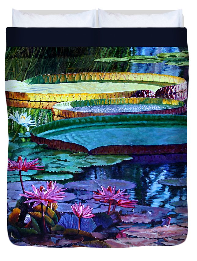 Garden Pond Duvet Cover featuring the painting Stillness Of Color And Light by John Lautermilch