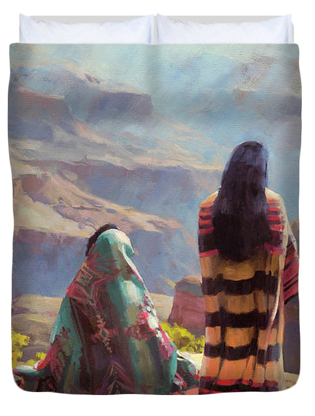 Southwest Duvet Cover featuring the painting Stillness by Steve Henderson
