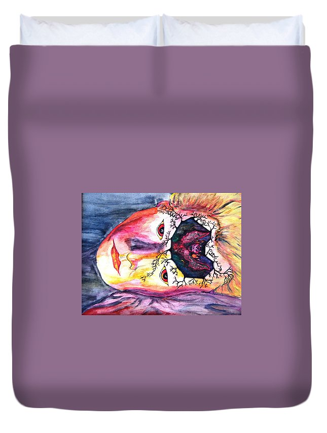 Sting Duvet Cover featuring the mixed media Sting Having A Nightmare by Angela Murray