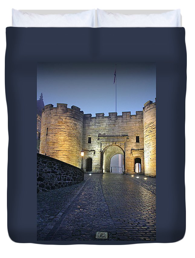 Historic Duvet Cover featuring the photograph Stirling Castle Scotland In A Misty Night by Christine Till