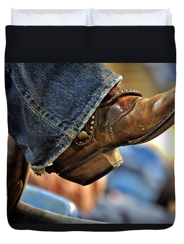 Boots Duvet Cover featuring the photograph Stock Show Boots I by Joan Carroll